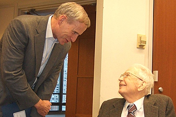 Ronald Coase and Edward Snyder talk together at 2006 Chicago conference