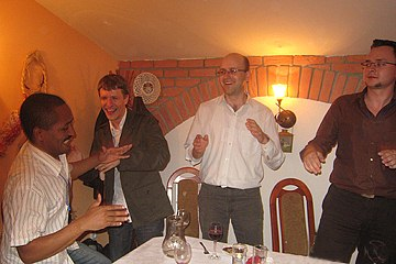 After a goose dinner, participants dance
