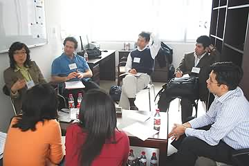 Small group meets during workshop